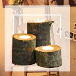 Log tealight holders with bunting and wooden ladder